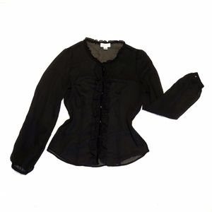 LOFT Black Semi-Sheer Ruffle Button Blouse Size 6